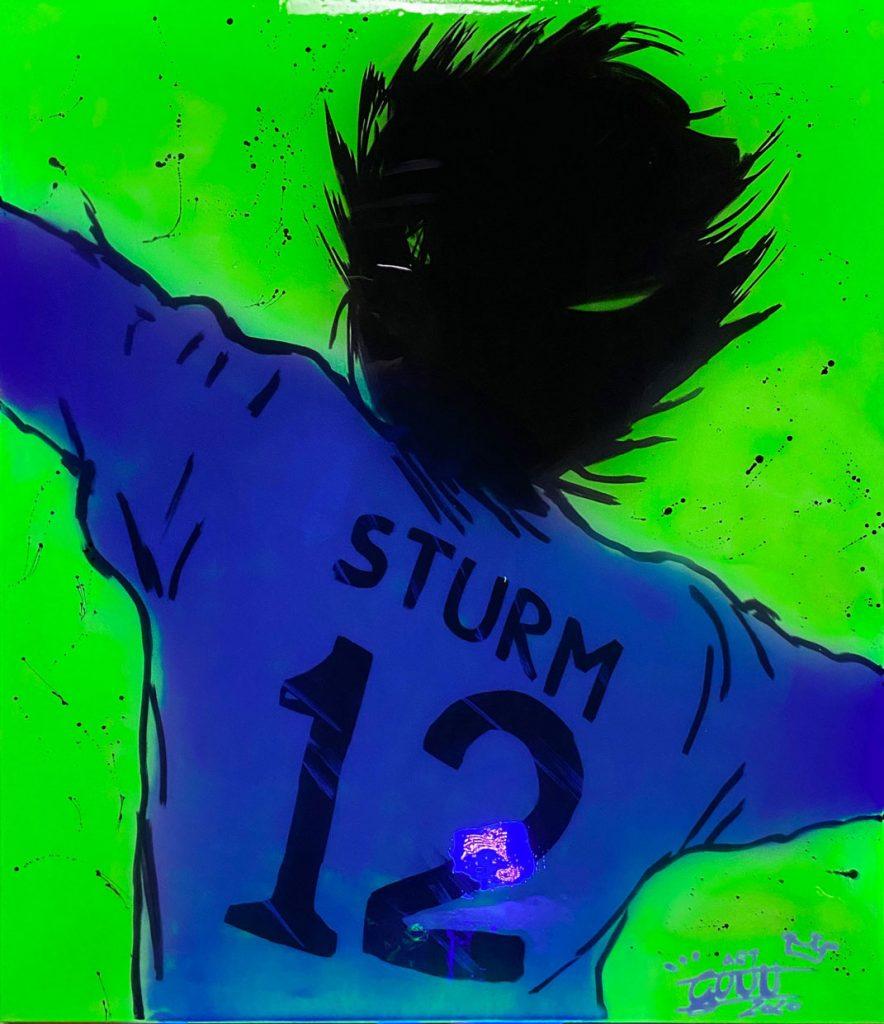 SK Sturm Graz 12 mit Schwarzlicht beleuchtet